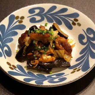 鶏肉となすのキムチ炒め