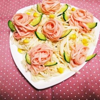 そうめん、ひやむぎに♡食紅で薔薇♡