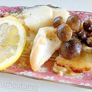 香ばしい甘塩鱈としめじのバター焼き