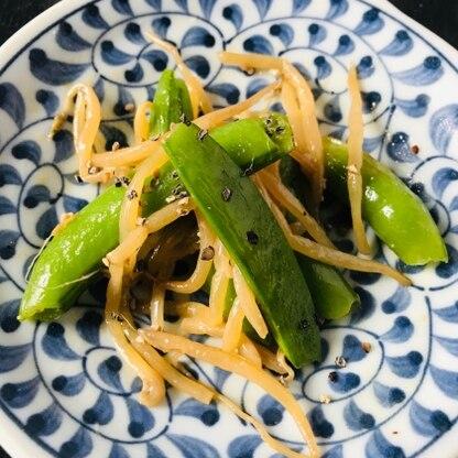 胡椒を多めにして作りました。 もやしとさやえんどうの食感が良くて美味しかったです。