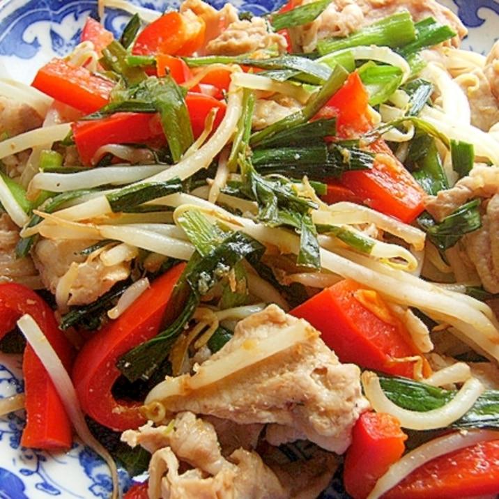 簡単!ポン酢で減塩❤豚&もやし炒め♪(生姜&ニラ)
