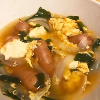 ウインナーと豆腐でスンドゥブ風スープ