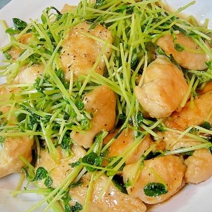 豆苗と鶏むね肉の甘辛炒め