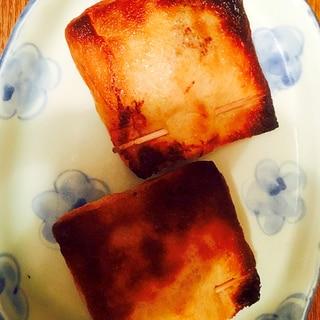 納豆とチーズをカニカマ入りのお揚げ焼き