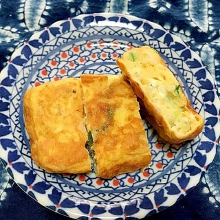 しらすとチーズと青ねぎの卵焼き