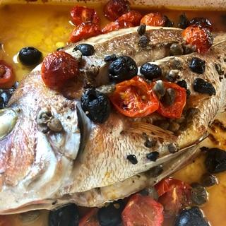 ヘルシオで☆鯛のアクアパッツァ〜貝なし版