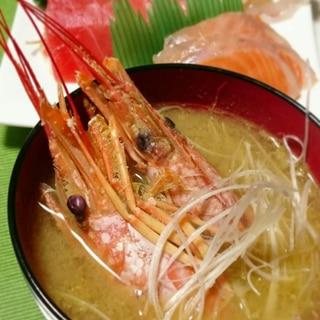 赤エビの頭の味噌汁