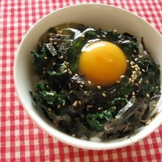 モロヘイヤの卵かけ御飯