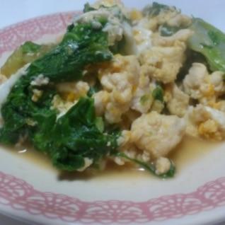 菜っ葉と豆腐の卵とじ★