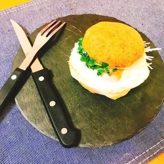 【糖質制限】朝マック風♡おからパンバーガー