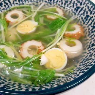 簡単(^^)水菜+ワカメ+うずら卵のとろみスープ♪