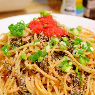 高菜と明太子で博多風パスタ!