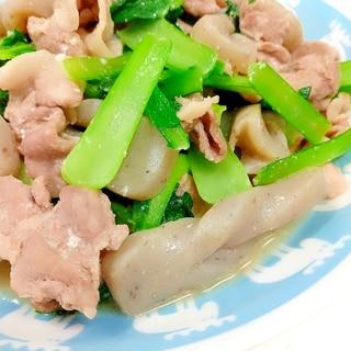 簡単!(^^)豚肉+小松菜+こんにゃくの炒め物♪
