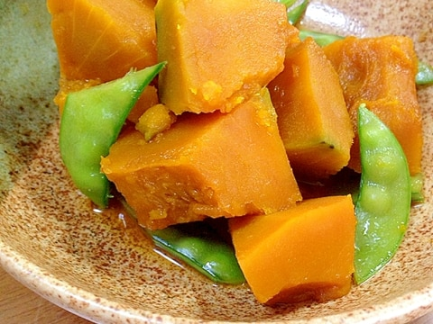 かぼちゃと絹さやの煮物
