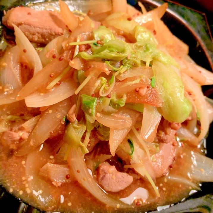 豚ヒレ味噌漬肉と野菜のポン酢マスタード炒め