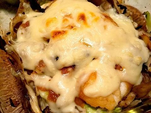 鱈のにんにく味噌漬けと野菜のグリルチーズ焼き