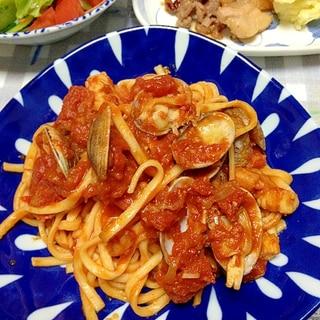 トマトソースパスタ☆シーフードスパゲティ