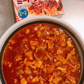 煮込み時間3分♪ヒラタケと豚肉のミートソース!
