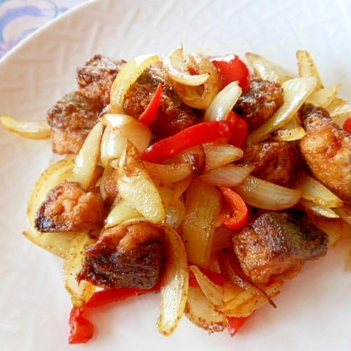 鯖と玉葱、赤ピーマンのカレー炒め