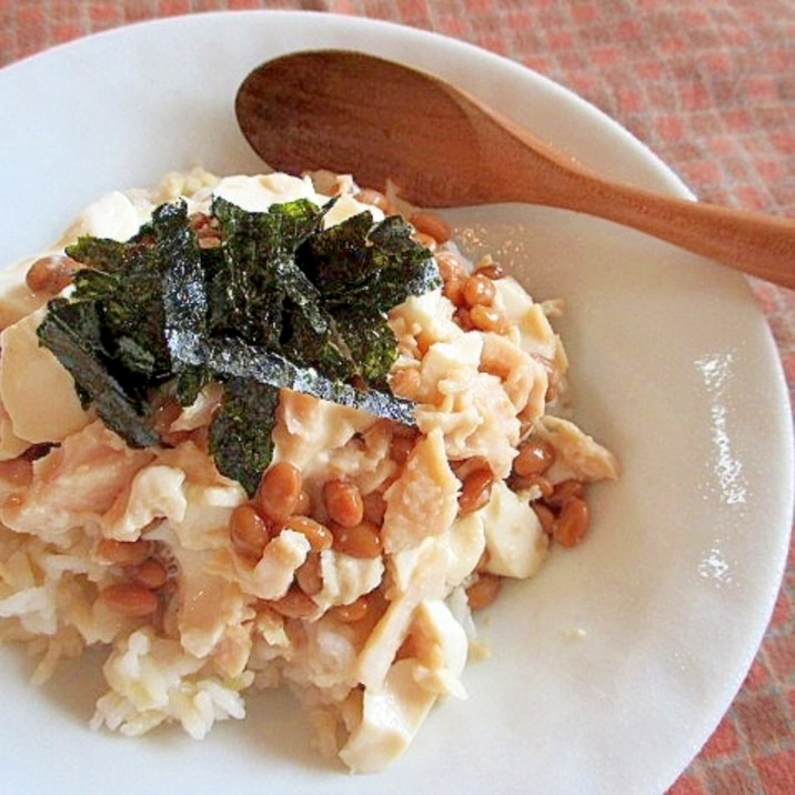 お酢でサッパリ!まるで納豆&ツナマヨ巻きな丼♪