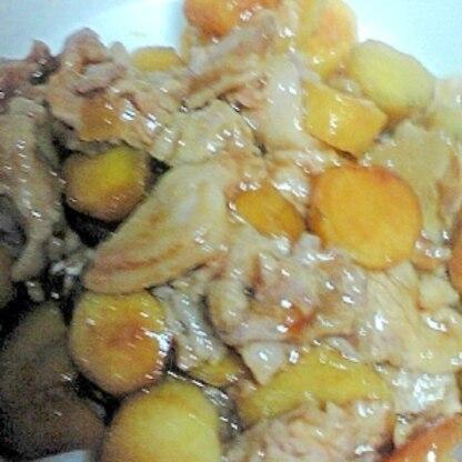 炊飯器で調理する、さつま芋と豚肉の甘辛煮♪
