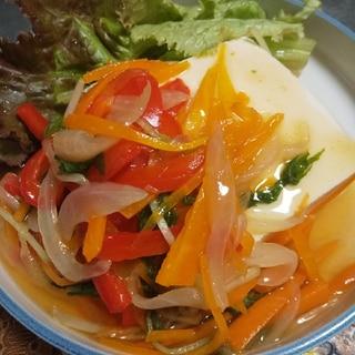めんつゆで簡単★豆腐のたっぷり野菜あんかけ