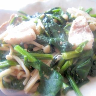 にらと水菜と豚肉えのきの味醂麺つゆグリル