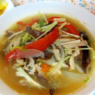 水菜とトマトのサンラータン風スープ