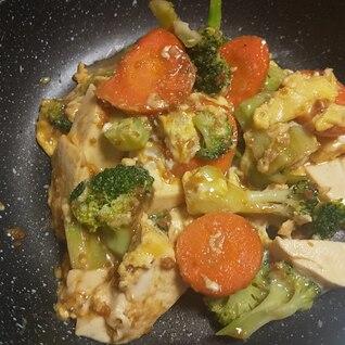 ブロッコリーと豆腐の卵とじ