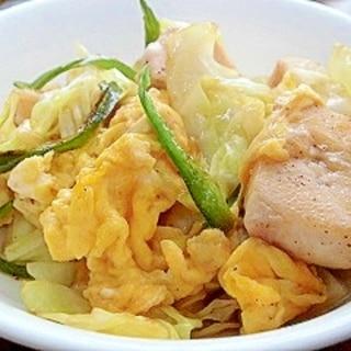 鶏肉とキャベツの卵炒め