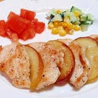 りんごと鶏肉の相性抜群♡鶏肉とりんごのソテー