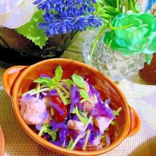 ハロウィン気分の紫キャベツとお豆のアーリオオーリオ