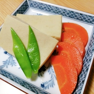 高野豆腐と人参と絹さやの煮物