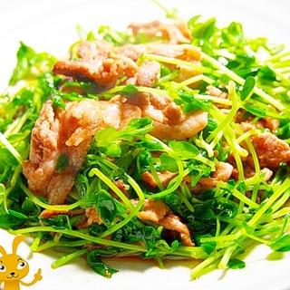 豆苗と豚バラのうま味炒め