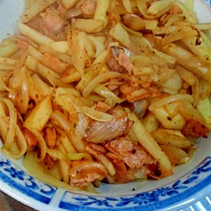 男の自炊料理。ジャーマンポテト風。圧倒的ィィィ。