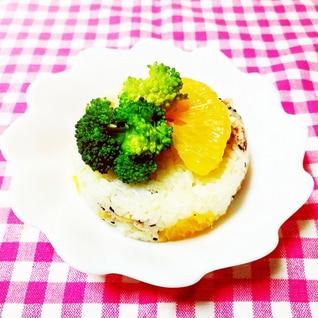 甘夏とブロッコリーの押し寿司風