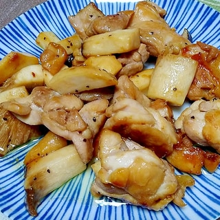 鶏肉とエリンギのスパイシー炒め