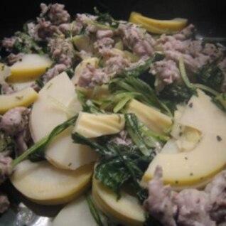 タジン鍋で簡単♪豚肉・たけのこ・水菜のハーブ蒸し