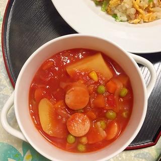 トマト缶だけで濃厚!じゃが芋とウィンナーのスープ