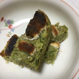 おからの抹茶ケーキ風のマシュマロ焼き