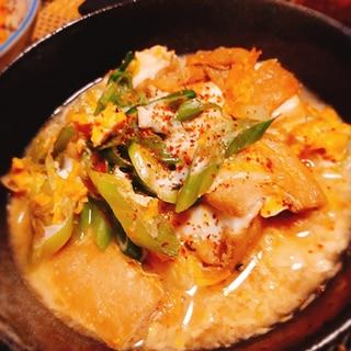 豆腐と油揚げとねぎの卵とじ