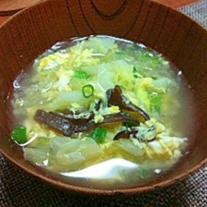 キクラゲとキャベツの中華スープ