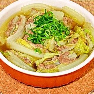 レンジで簡単★白菜と挽肉のミルフィーユカレースープ