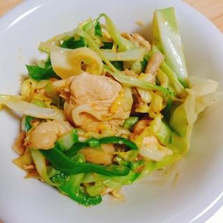 鶏胸肉 キャベツ ピーマンの焼肉のたれマヨソテー
