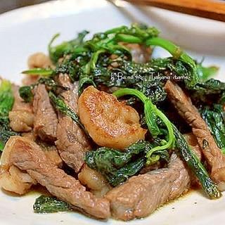 高菜と牛肉の炒めもの
