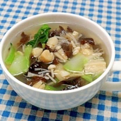 ブロッコリーの茎と貝柱の中華スープ