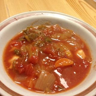 圧力鍋で簡単!白菜とチキンのトマトスープ!