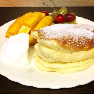 ベーキングパウダーなしスフレパンケーキ