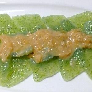 簡単おつまみ♪刺身こんにゃくを生姜酢味噌で