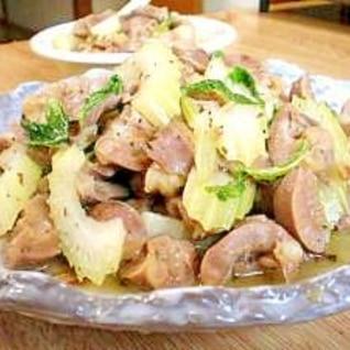 食感楽しく♪ 砂肝とセロリの塩レモン炒め
